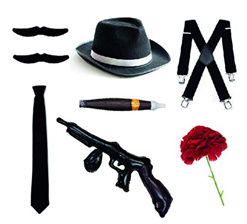 Bodysocks Fancy Dress Gangster Set – Cappello Trilby, cravatta, bretelle, sigari, baffi e garofano (nero)