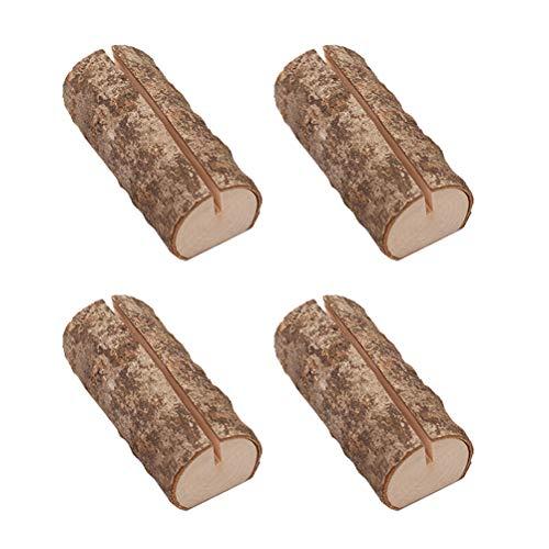 SUPVOX Holz Runde Pfahl Form Tischnummer Halter Clip Foto Halter Tischkarte Halter Platzkartenhalter für Hochzeit Party 10 Stück