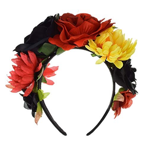 Floral Fall Day of the Dead Flower Crown Festival Headband Rose Mexican Floral Headpiece HC-23 (Red Black Yellow)