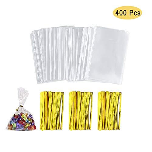 NEPAK 400 Cellophantüten klar 8 x 12 cm,Cellophantüten Klein Süßigkeiten Tüten OPP Tütchen Flachbeutel Transparent Bodenbeutel,mit 700 Pcs Twist Krawatten