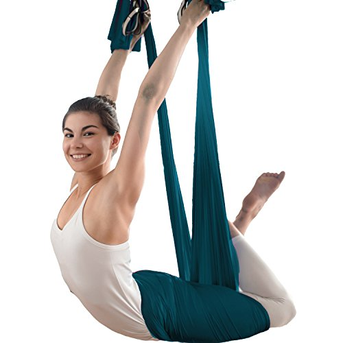 Aerial Yoga Hammock - Premium Aerial Silk Yoga Swing for Antigravity Yoga, Inversion Exercises, Improved Flexibility & Core Strength - Extension Straps, Carabiners and Pose Guide Included (teal)