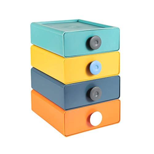 Cajones apilables de almacenamiento, 4 cajones de plástico multicolor, organizador de almacenamiento de escritorio con cajones, organizador de maquillaje para el hogar, oficina, dormitorio (4 piezas)