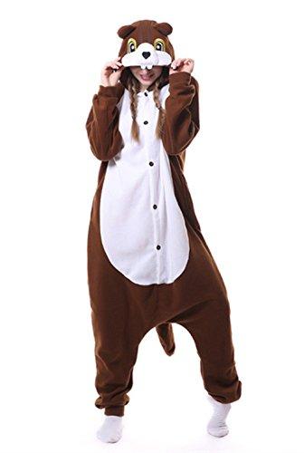 Tier Eichhörnchen Schlafanzug-Einteiler Halloween Cosplay Kostüm Jumpsuit Nachtwäsche Fasching Karneval