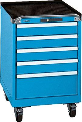 LISTA Schubladenschrank, Traglast/Schubl. 75 kg, fahrbar, 5 Schubladen: 4x100,200 mm, Code-Lock, BxTxH 564 x572x890 mm, RAL 7035 lichtgrau