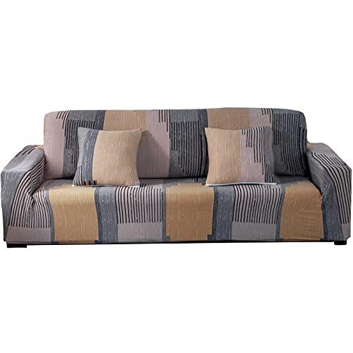 ARNTY Fundas Sofa Elasticas 1/2/3/4 Plazas,Cubre Sofa,Fundas para Sofa,Decorativas Fundas de Sofa Ajustables Protector para el Sofa Chaise Longue (Vistoso-Líneas, Funda Sofa 3 Plaza:181-230cm)