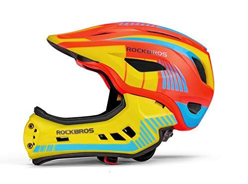 ROCKBROS Casco Bimbi Casco Bici per Bambini Casco Integrale Bici MTB BMX con Mento Staccabile 2 Dimensioni S 48-53cm M 53-58cm Modello Aggiornato Unisex Certificato CE