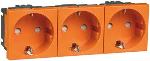 Peha 00403511 Concept 45 Schuko-Einbausteckdose mit erhöhtem Berührungsschutz, 3-Fach, orange