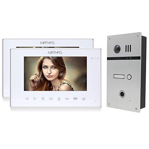 2 Draht Video Fingerprint Türsprechanlage Gegensprechanlage Fischaugenkamera 170 Grad, Farbe: Silber, Größe: 2x7'' Monitor in weiß