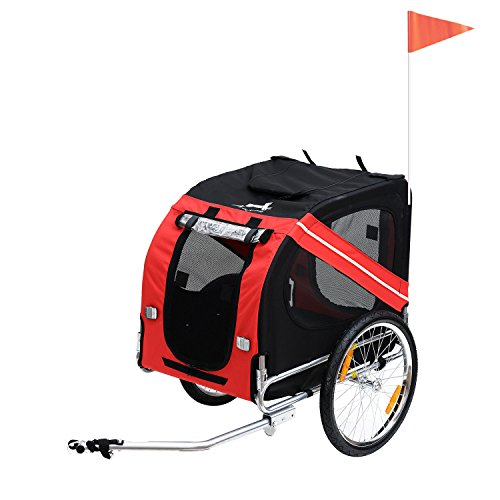 Pawhut Folding Dog Carrier Bicycle Pet Trailer in Steel Frame Stroller - Red & Black