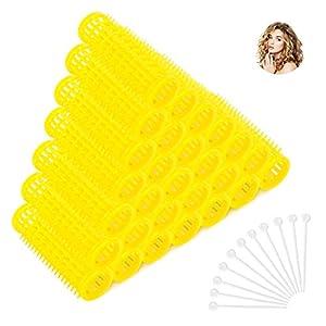 32 Rulos para el Pelo de Plástico, Rulos Rizadores de Pelo con Agujas de Sujeción, para Mujeres y Niñas, Herramientas de Peinado de Pelo, Color Amarillo