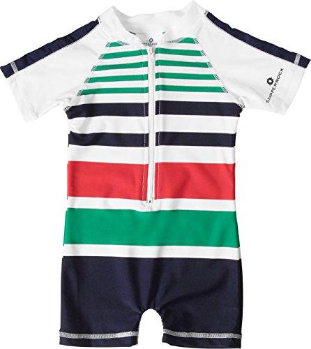 Snapper Rock Baby Jungen & Mädchen UPF 50+ UV schützend warm Kurzarm Badeanzug für Kinder Weiß/Blau/Rot/Fisch 0-6 Monate, 62-68cm