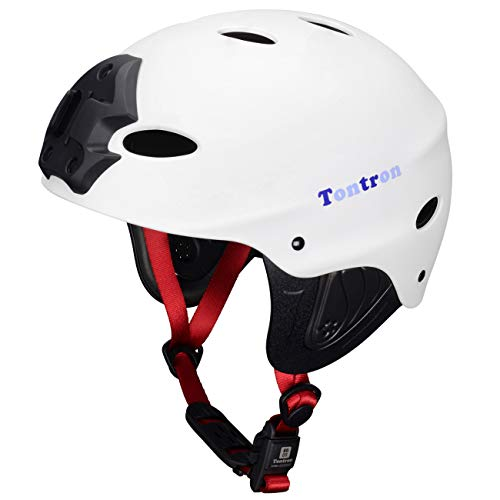 Tontron Adult Kayaking Surfing Watersports Helmet with Camera Mount Plate (Matte GP_White, Large)