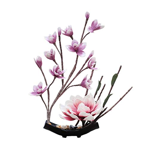HAIYANG Plantas Decoración Magnolia denudata Ramo de Flores de Seda Artificial con jarrón de Estilo Chino para Home Garden Party Hotel Office Decor