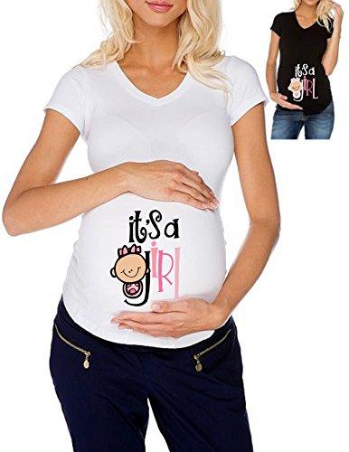 T-Shirt Premaman Maglietta Lunga Donna Cotone Basic Super vestibilità Top qualità - It's A Girl Gravidanza Nascita Made in Italy (XL, Nero)