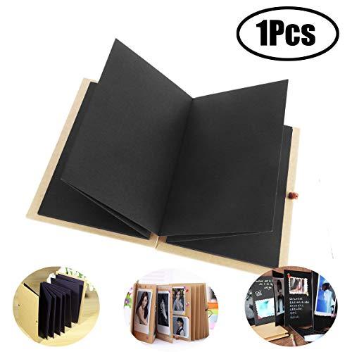 LEEQ - Album fotografico a forma di fisarmonica, con copertina rigida, 36 pagine, blocco note, laurea, compleanno, anniversario, regalo di nozze, colore: nero