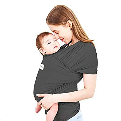 Acrabros Baby Wrap Carrier,Hands Free Baby Carrier Sling,Lightweight,Breathable,Softness,Perfect for Newborn Infants and Babies Shower Gift,Charcoal Grey