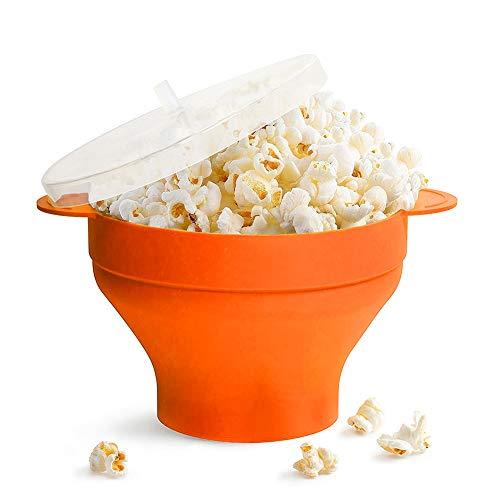 Popcornschüssel aus Silikon,zusammenklappbar,mit Deckel und Griffen Silikon-Popcorn-Hersteller,für die Mikrowelle geeignet (Orange)