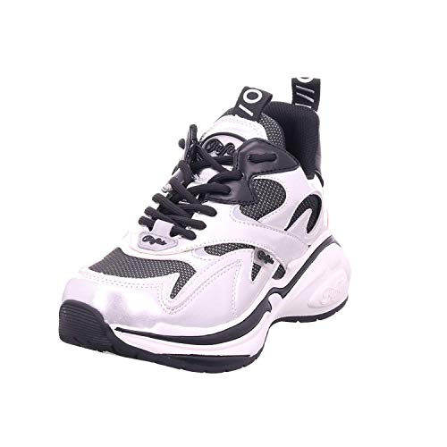 Buffalo Damen Sneaker CAI, Frauen Low-Top Sneaker, Halbschuh strassenschuh schnürer schnürschuh sportschuh Plateau-Sohle Lady,Silver,37 EU / 4 UK
