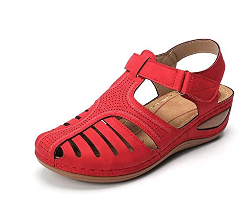YZZ Mujeres Sandalias Vintage Sandalias Hebilla Casual Casual Zapatos Zapatos Mujer Damas Plataforma Retro Sandalias Plus 35-43 (Color : Red, Size : 41)