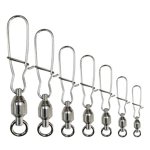 シャドック釣り サルカン ストロングスナップ付き ボールベアリングスイベル コネクター 高強度ステンレス鋼 ニッケル鍍金 釣り道具 サイズ0-6# サイズ5# 120lb