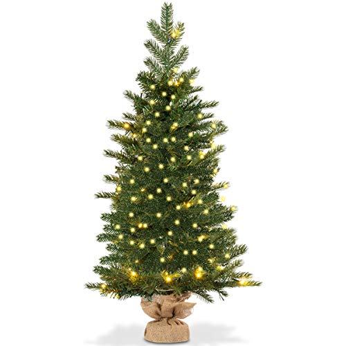 Goplus 3ft Prelit Christmas Tree, Battery Operated Spruce Fir Tree with 50 LED Lights and Timer Function, 363 Tips Solid Cement Base Tabletop Decorations Full Tree