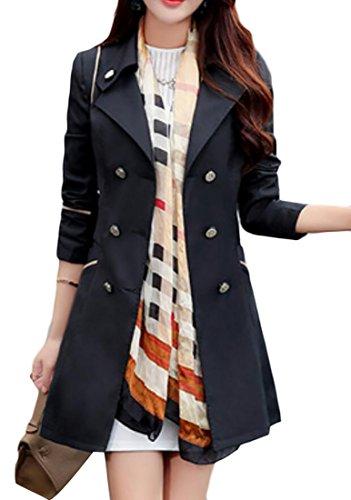 YUNY Women's Lapel Double-Breasted Trech Coat Long Overcoat Outwear Jacket Black US L