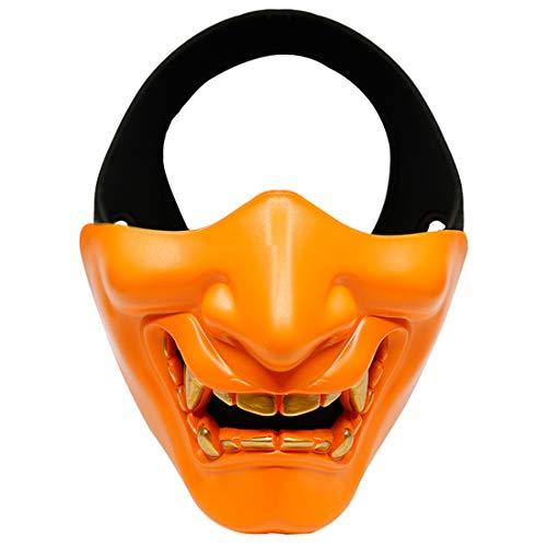 XDLH Halloween Lachen Prajnä Tactical Maske, COS Teufel Horror Grimasse Halbe Gesichtsmaske Für Männer Und Frauen Erwachsene, Abendkleid-Partei Geeignet Für Erwachsene Und Kinder,Orange