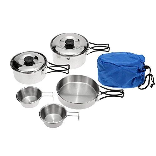 Lixada Camping en Plein air Batterie de Cuisine Set Portable en Acier Inoxydable Camp Cuisson Pot Pan Bols avec Poignées Pliables