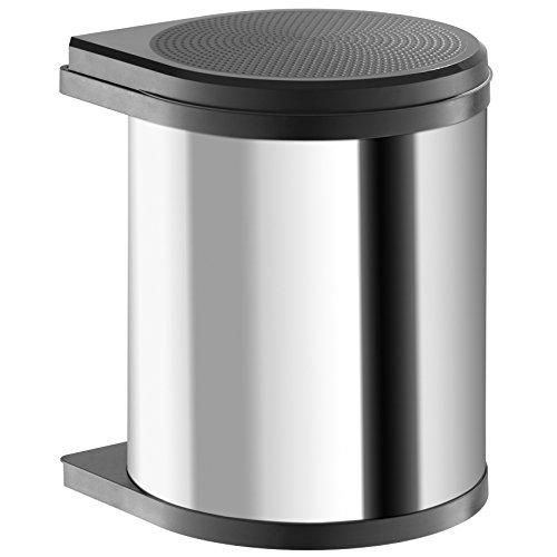 Hailo Mono Küchen-Abfalleimer, Edelstahlpoliert, Schwarz, One Size