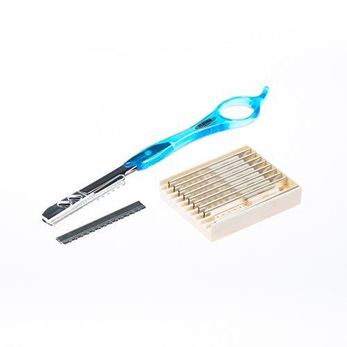 Feather Styling Razor Rasiermesser Orginal (Aqua Blue) 18,5cm Konturenmesser mit rostfreier Klinge Teflon beschichtet