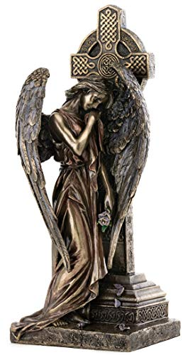 Top Collection Weeping Angel of Grief Leaning on Celtic Cross Statue - Religious Sculpture in Premium Cold Cast Bronze - 11.75-Inch Collectible Messenger of God Figurine