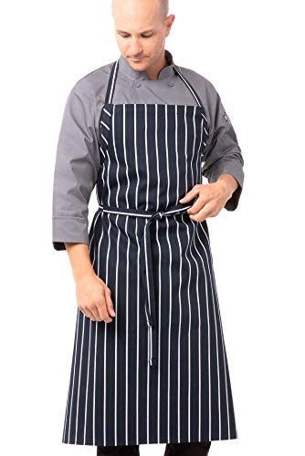 Chef Works Mens English Chef s Apron, Navy Chalk Stripe, 39 inches long 37 wide US