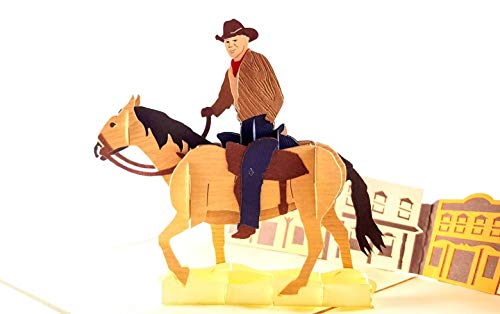 iGifts And Cards Inspirational Cowboy 3D Pop Up Greeting Card - All Occasion, Happy Birthday, Friendship, Congratulations, Just Because, Half-Fold, Horse, Gift, Unique, Motivation, Saloon, Wow Bronco