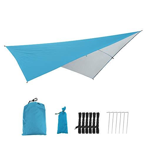 WXYLYF Hamaca Rain Fly Tent Tarp, Camping Shelter Sunshade Portable Beach Sun Shelter Tienda De Campaña para Acampar Al Aire Libre,Azul