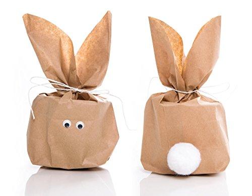 5 Stück SET kleine Ostern Geschenktüten OSTERHASE basteln natur braun 16,5 x 26 x 6,6 cm - witzige Ostertüte Verpackung Kinder Erwachsene als Osternest give-away Geschenke verpacken Hasenohren