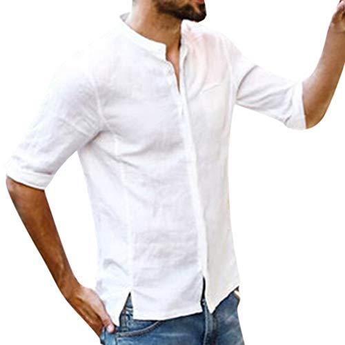 BaZhaHei Chemise Hommes Col Mao Coton et Lin Manches 1/2 Couleur Unie Mode Chemisier Simple Casual Bouton Slim Fit Tops Haut Irrégulier(XXL,Blanc)
