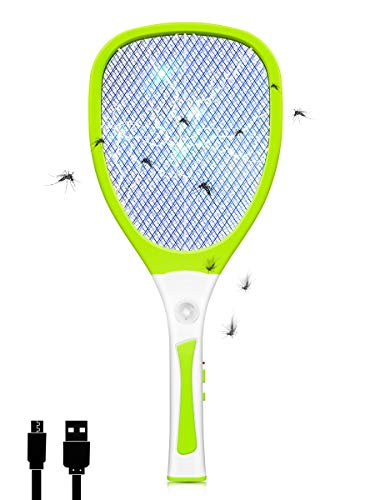 JOLVVN Racchetta Zanzare Elettrica, Swatter Insetti Elettrico Repellente Mosquito Killer Elettronico Volare Anti-Insetti Stermina Uccisore Mosche Insetticida con Luce LED USB Ricaricabile (Verde)