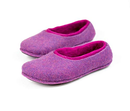 2-layered women slippers handmade from felted wool Lavender/Fuschia home shoes