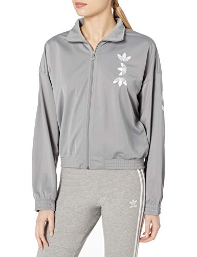 adidas Originals Damen Large Logo Track Top Jacke, Dunkelgrau/Weiß, Medium