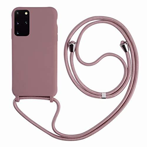 2ndSpring Cover con Collana Compatibile con Samsung Galaxy S21 Plus,Case con Laccio per Il Collo Custodia con Cordino,Soft Silicone Rose Gold