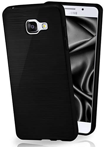 MoEx Cover in Silicone Compatibile con Samsung Galaxy A3 (2016)   Effetto Alluminio Spazzolato, Antracite