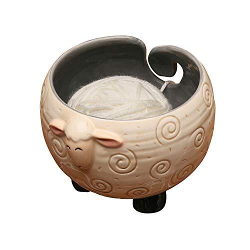 WHAT ON EARTH Sleepy Sheep Ceramic Yarn Bowl Knitting Bowl - Holds Ball of Yarn for Tangle Free...
