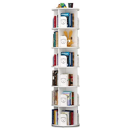 Librerie Girevole a 360 ° Tavolo da Ufficio Scaffale portaoggetti Scaffale per Libri Terra per Bambini Coltiva l'interesse dei (Color : Bianca, Size : 6 Layers(43 * 190cm))