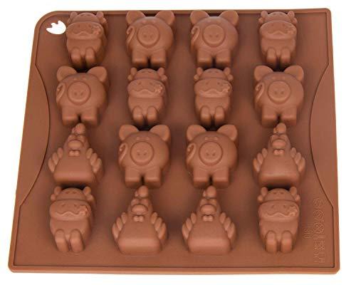 Pralinenform Silikon Tiere I Silikonform I Eiswürfelform I Schokoladenform I Förmchen I Backform I Chocolate Mold I 18 x 16,5 x 2cm I Bauernhof Schweinchen, Hühner, Kuh I Farbe: Braun