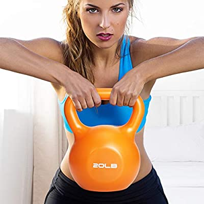 FutureCharger kettlebells weight ,Athletic Supply Hammerstone Cast Iron Kettlebell ,10, 15, 20,lbs,Noise Reduction - Free Weights For Ballistic, Core, Weight Training (20, Orange+20BL) by future charger