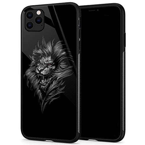 iPhone 11 Hüllen, gehärtetes Glas, iPhone 11 Hülle, American Football Sport Muster, Schwarz, iPhone 11 Pro Max, Cool Lion