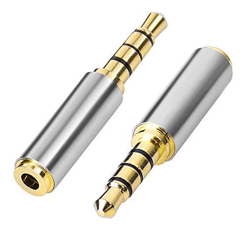 Oro 3.5 mm Maschio a 2.5mm Femmina Plug Stereo Auricolare Adattatore ConverterAUX per Le Cuffie del Telefono, Smartphone, Tablet, PC, Altoparlanti, Microfono e Lettori di schede 2 Pezzi
