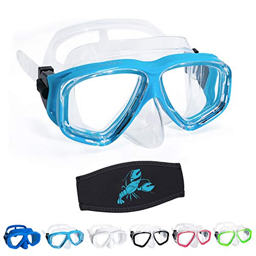 OMGear Goggles Kids Swimming Silicone Swim Mask Snorkeling Gear for Kids Tempered Glass Snorkel Goggles with Nose Cover Scuba Diving Goggles with Cute Neoprene Mask Strap Cover (Aqua)