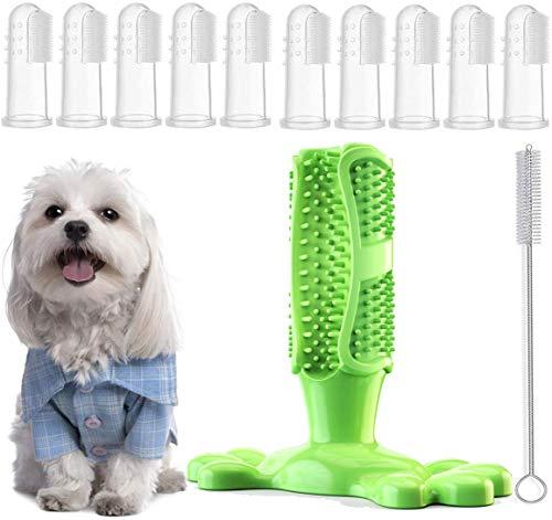 Yueser Spazzolino da Denti per Cani,Gomma Naturale Giocattolo da Masticare con 10 Pezzi Pet Spazzolino da Dito per Cani di Taglia Piccola Media e Grande la Pulizia Dentale