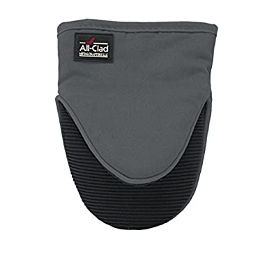 All-Clad Textiles Professional 600-Degree Cotton Twill Silicone Grabber Oven Mitt with No-Slip Grip, Pewter